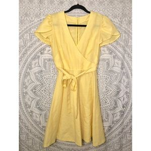 VTG 70s Faux Wrap Surplice Fit and Flare Dress